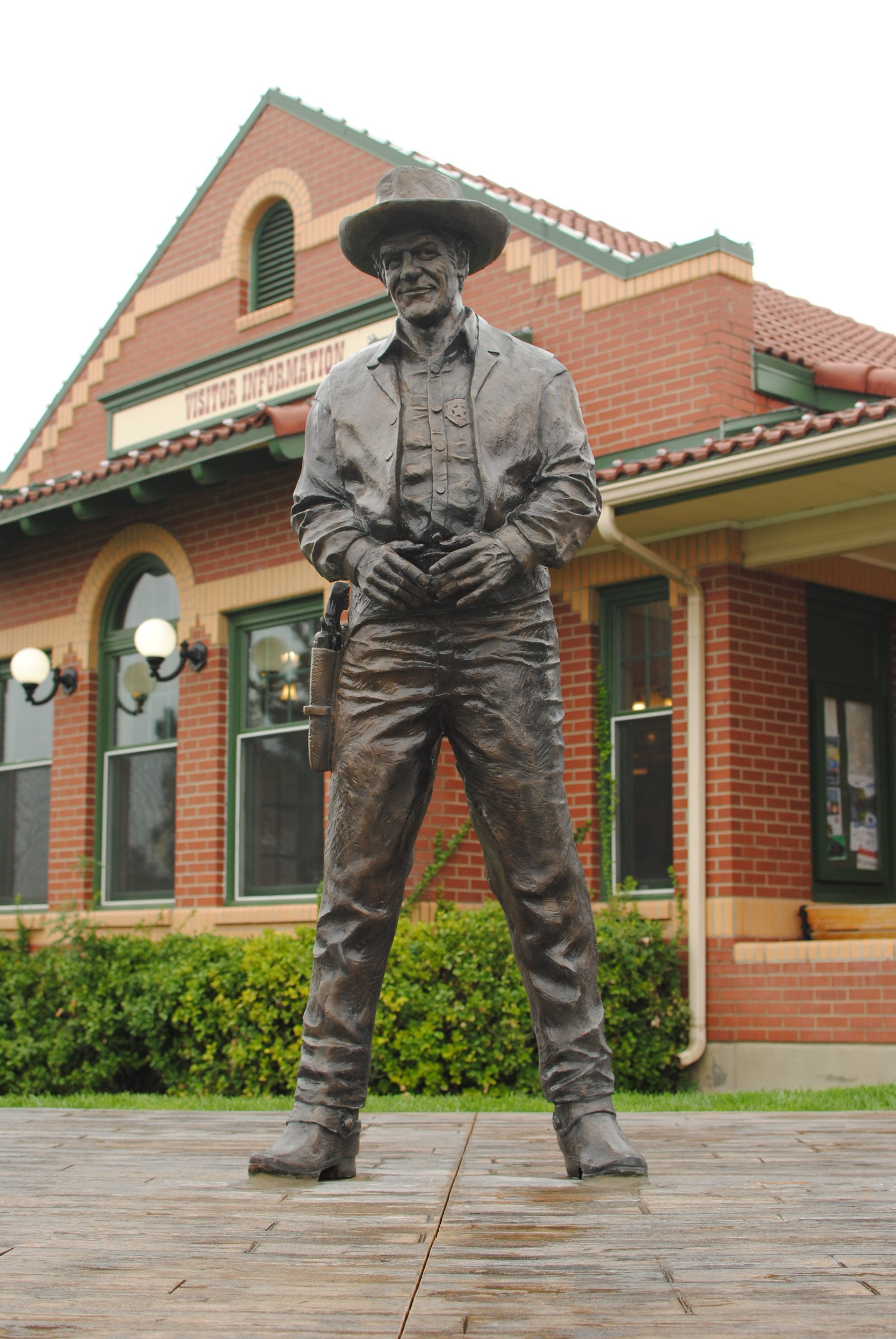 Statue in front of Visitor Information building