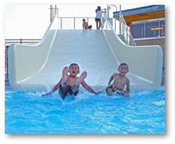 Young boys on waterslide