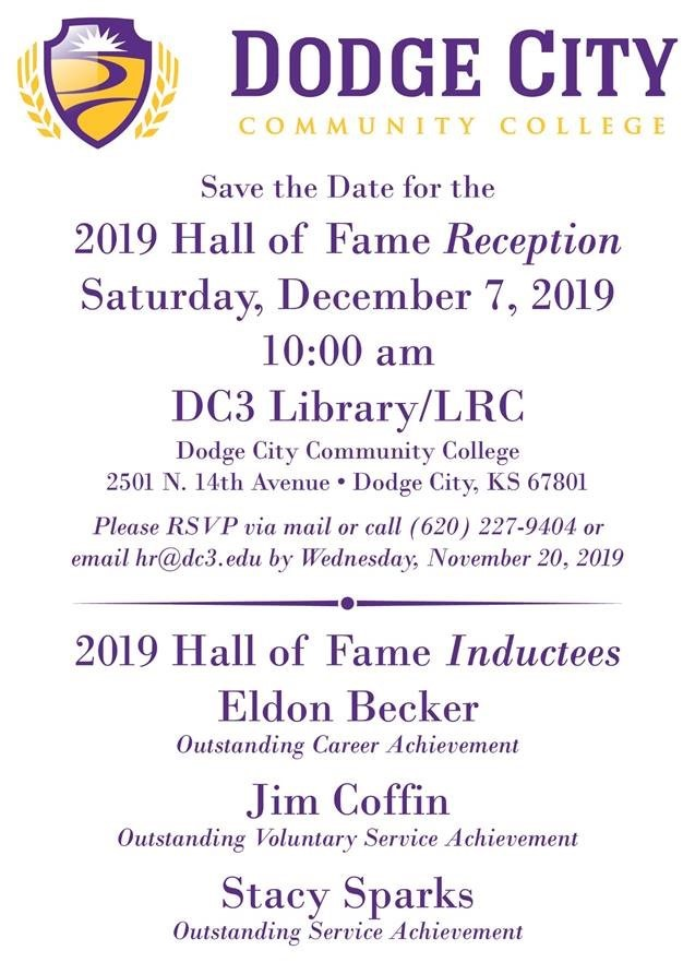 Dodge City Community College Hall of Fame Reception 2019