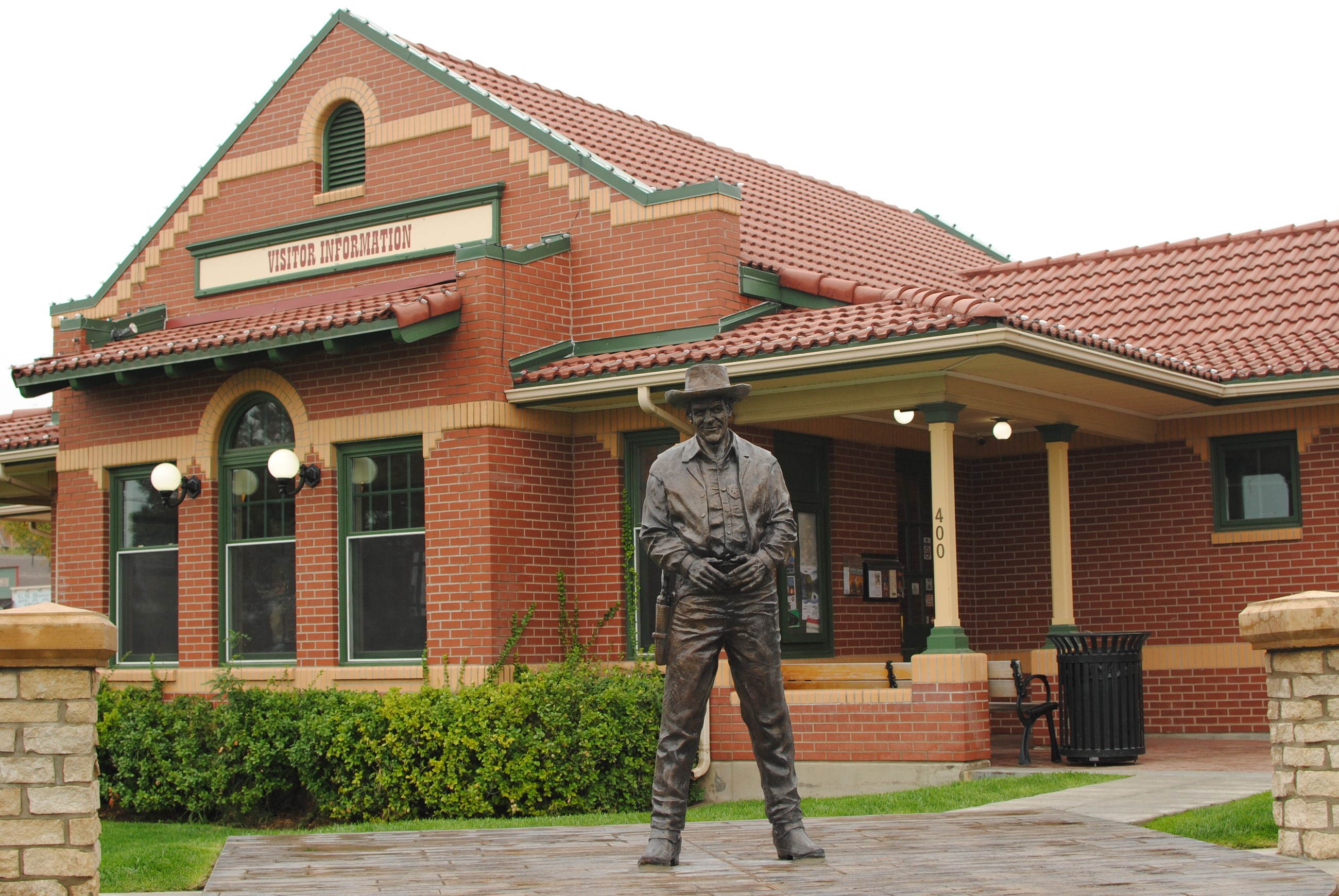 Statue in front of Visitor Center Building