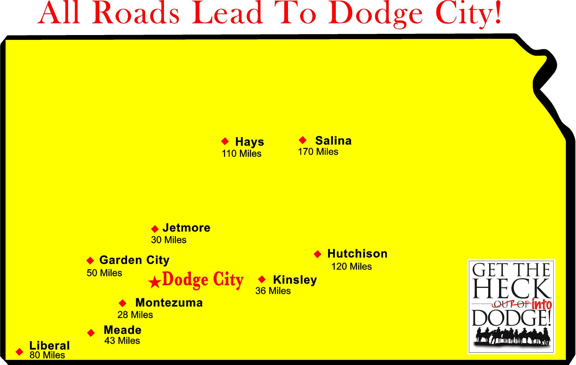 All roads lead to Dodge City Southwest Kansas distance Map