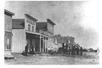 Black and White Photo of the Original Front Street in Dodge City, Kansas