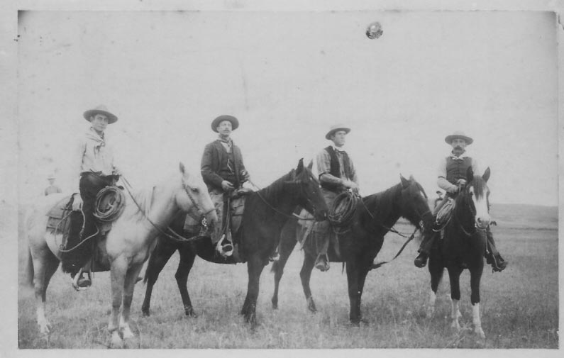 Western cowboys with horses on a trail ride near Dodge City