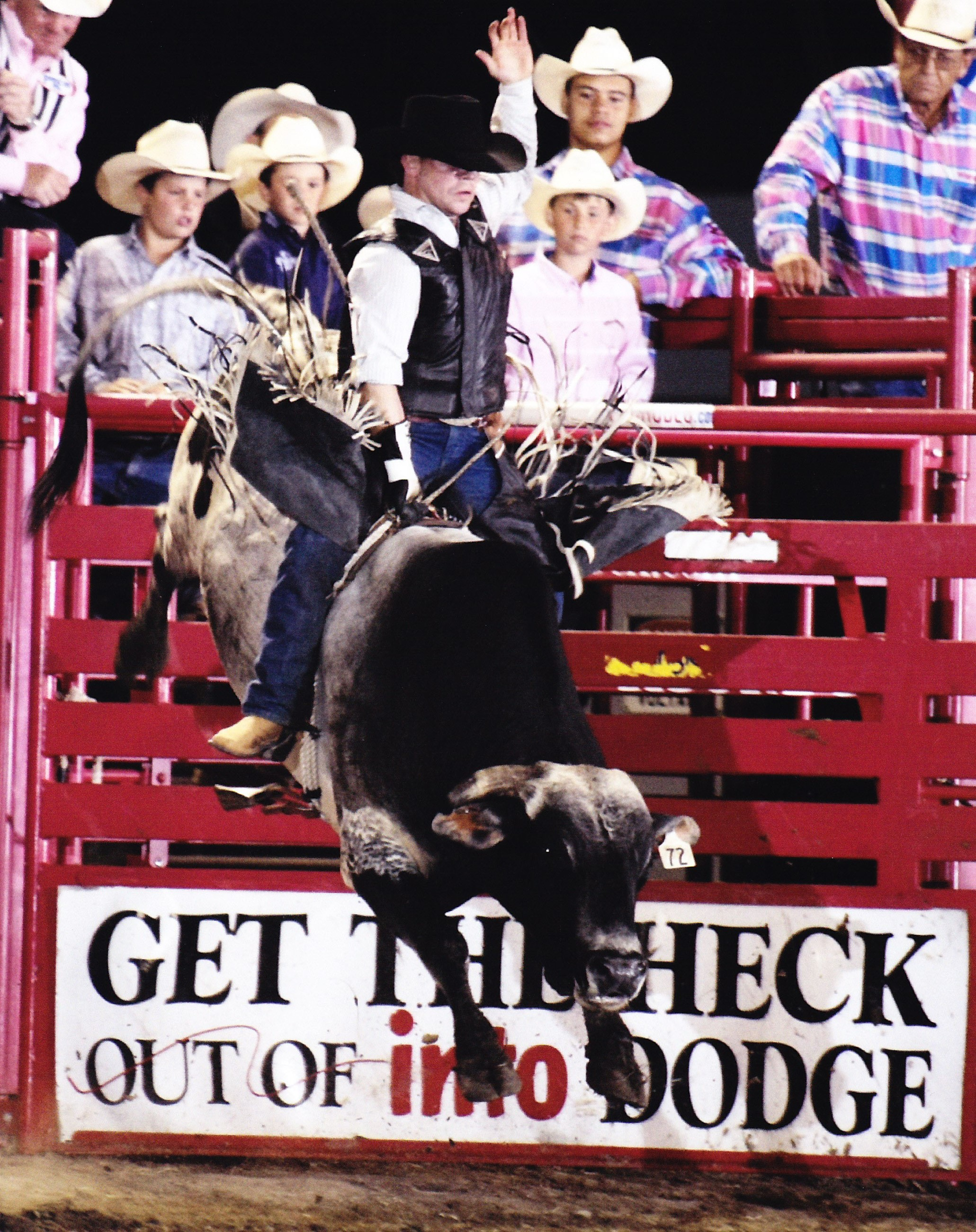 Bull Riders at Rodeo in Dodge City, Kansas